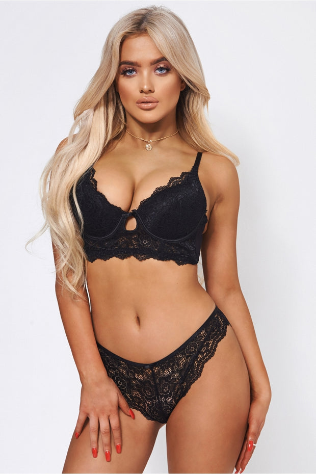 Lucca Black Lace Knicker Set