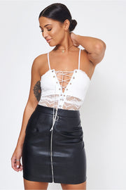 Black Zip Front Mini Skirt