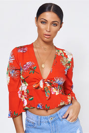 Utopia Orange Floral Tie Top
