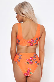 Motel Orange Floral High Waisted Bikini