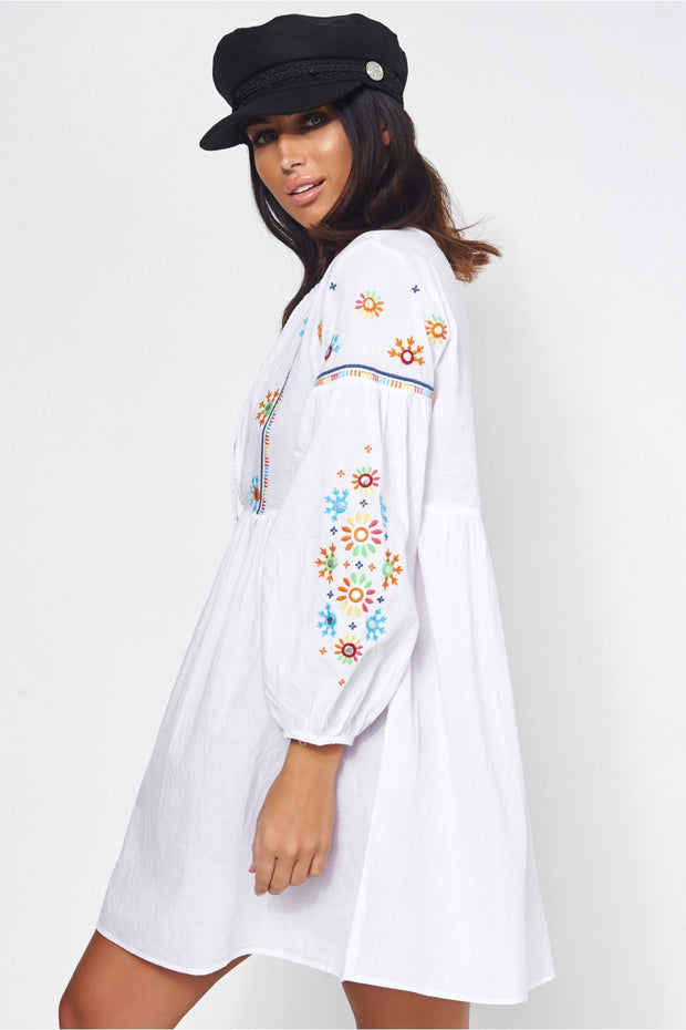 White Embroidered Beach Cover Up Dress
