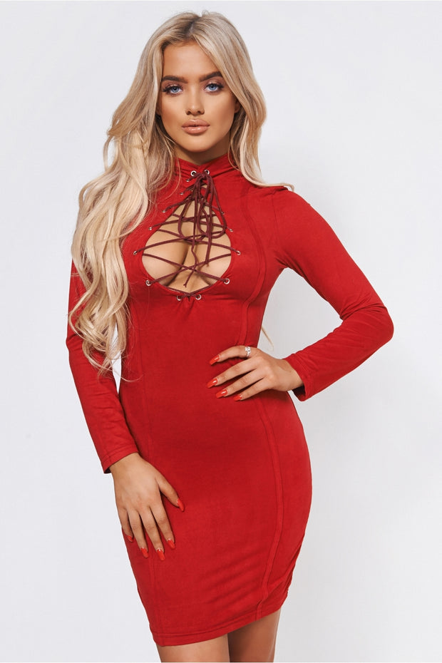 Kula Burgundy Lace Up Suede Bodycon Dress