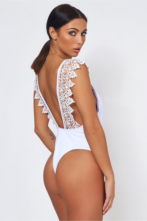 Laria White Crochet Backless Swimsuit
