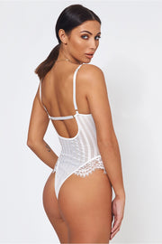 Kira White Stripe Lace Frill Bodysuit