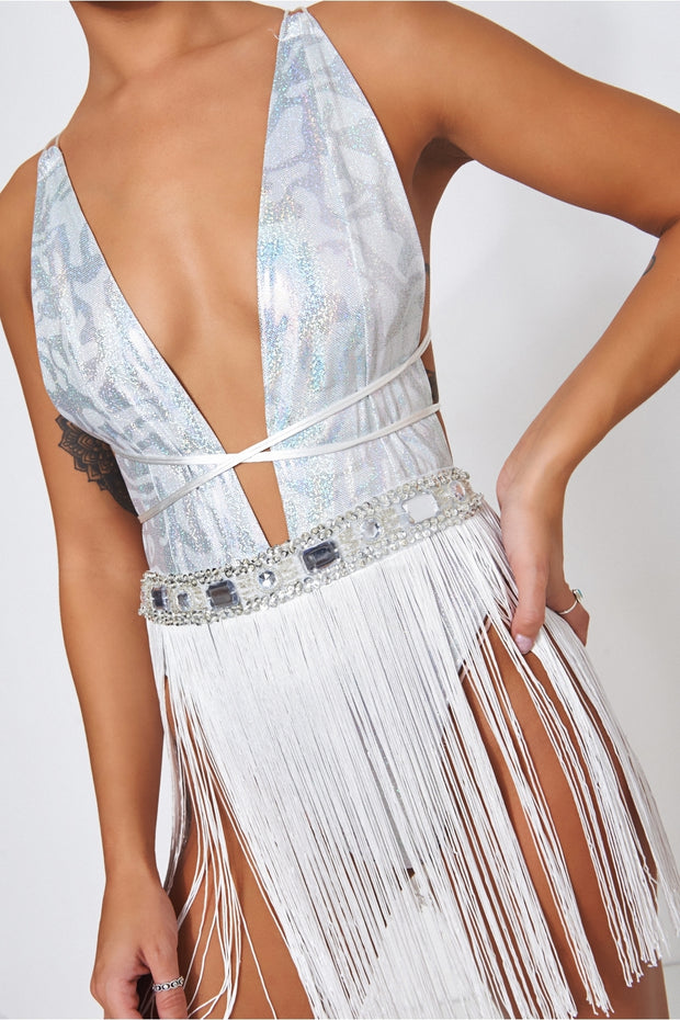 Electra Holographic Tassel Mini Dress