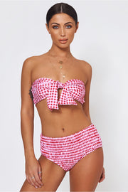 Red Gingham Tie Front Bikini