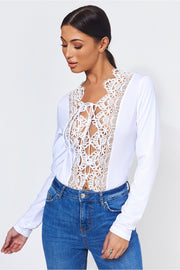 White Crochet Lace Up Bodysuit