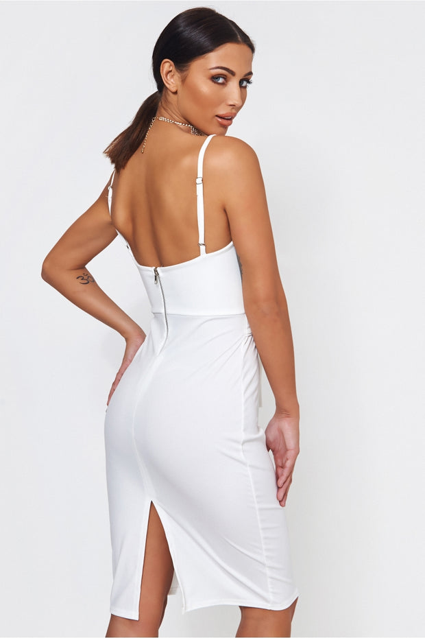Lola White Lace Up Bodycon Dress