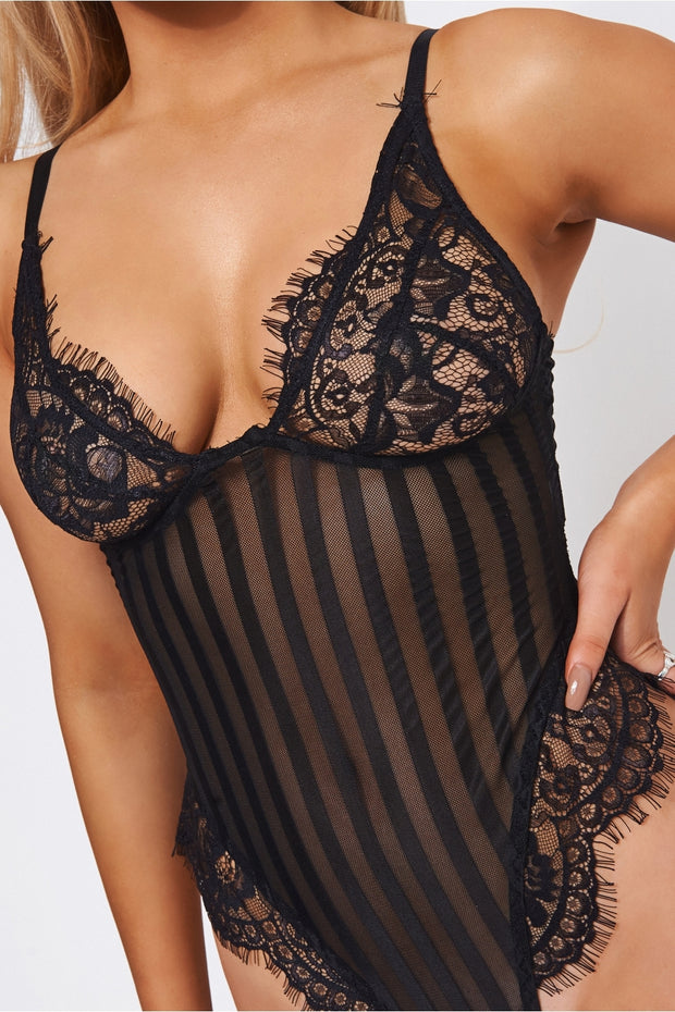 Kira Black Stripe Lace Frill Bodysuit