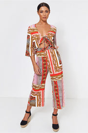 Brion Pink Baroque Print Frill Jumpsuit