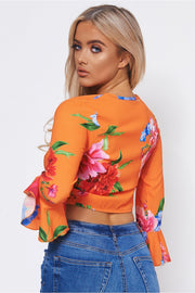 Kia Orange Floral Crop Top