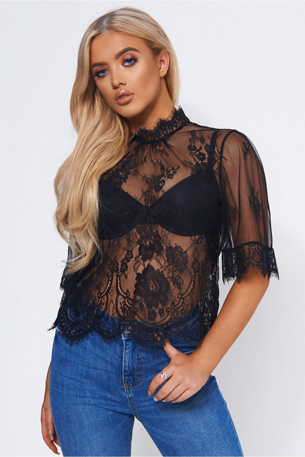 Black Lace Sheer Blouse