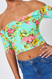 Green & Pink Floral Bardot Top