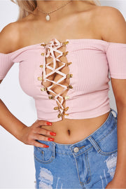 Pink Lace Up Bardot Top