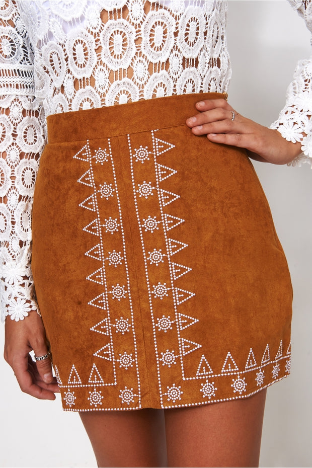Lilly Tan Embroidered Suede Skirt