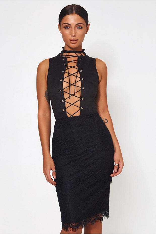 Isla Black Lace Bodycon Skirt