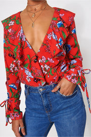 Red Floral Frill Bodysuit