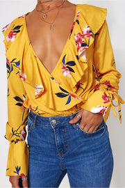 Raye Yellow Floral Frill Bodysuit