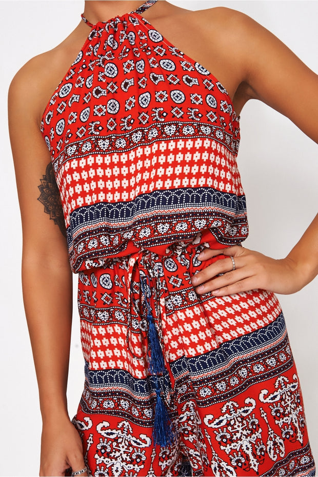 Uscher Red Bohemian Print Playsuit