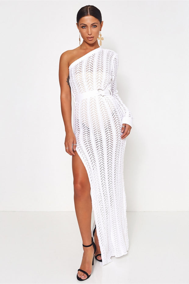 Tall Collection Shalini White One Shoulder Maxi Dress