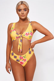 Motel Yellow Floral High Waisted Bikini