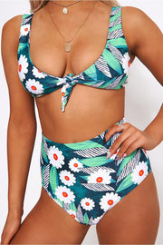 Daisy Print High Waisted Bikini