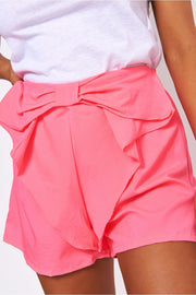 Neon Pink Bow Front Shorts