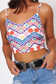 Pink Aztec Crop Top