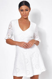 Luciana White Broderie Anglaise Shift Dress