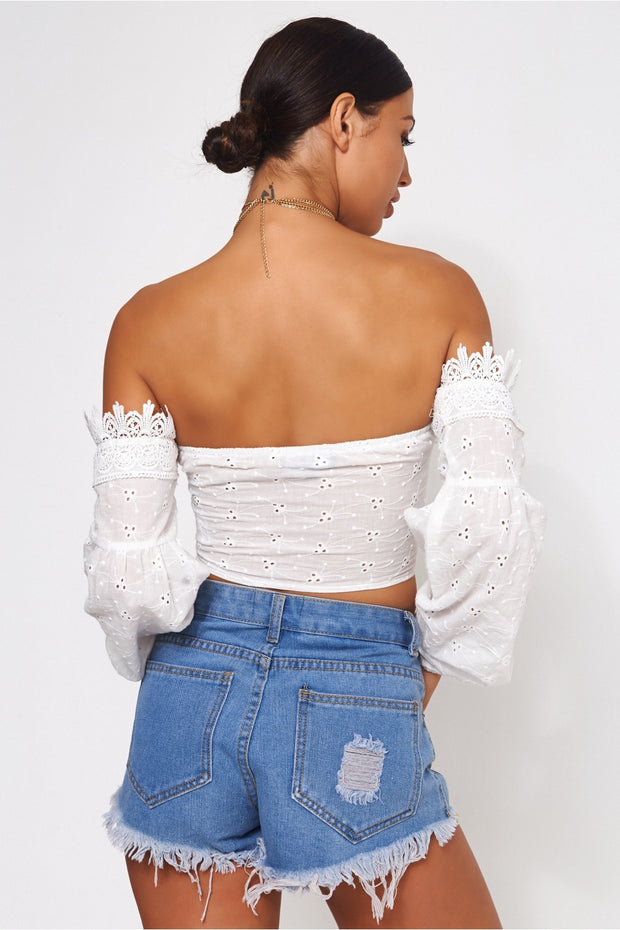 Limited Edition White Broderie Anglaise Crop Top