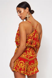 Firenza Red & Gold Baroque Print Co-ord