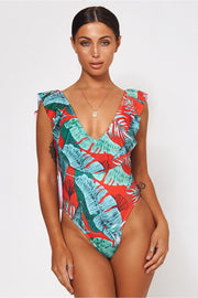 Eloisse Red Tropical Frill Swimsuit