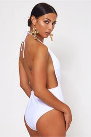 Gigi White Backless Swimsuit