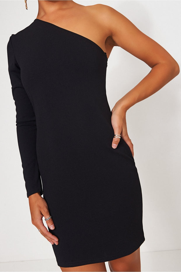 Alexa Black One Shoulder Mini Dress