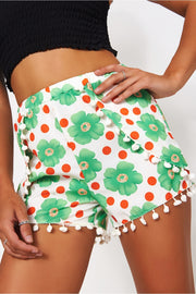 Green & White Daisy Pom Pom Shorts