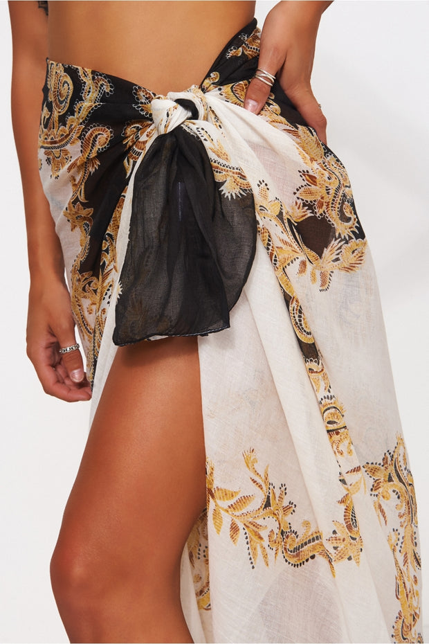 Baroque Print Black & Gold Scarf