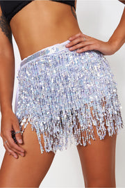 Holographic Silver Sequin Tassel Mini Skirt