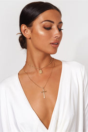 Hawaii Gold Overlay Cross Necklace