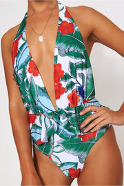 Red Backless Tropical Print Swimsuit