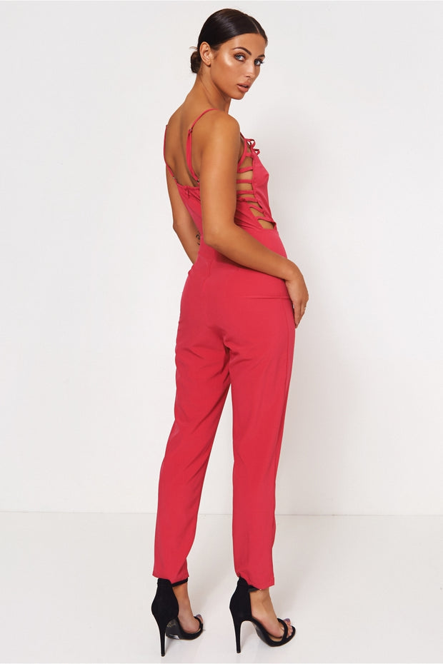 Pink Caged Front Jumpsuit