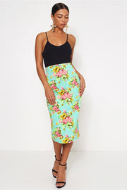 Green & Pink Floral Bodycon Skirt