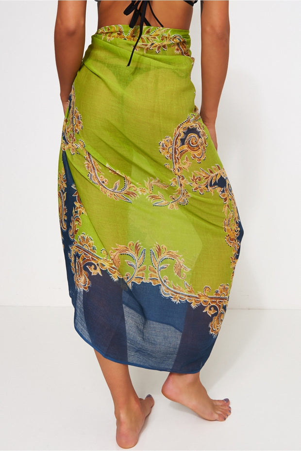 Baroque Print Green & Gold Scarf