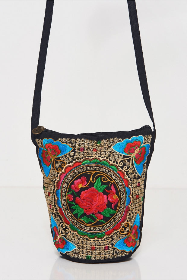 Boho Red Embroidered Bucket Bag