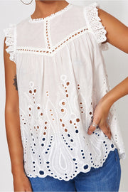 White Broderie Anglaise Frill Blouse