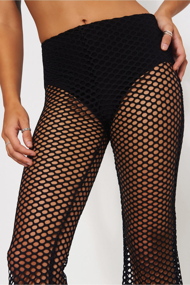 Black Flared Fishnet Trousers
