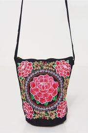 Boho Pink Embroidered Bucket Bag
