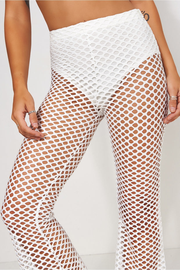 White Flared Fishnet Trousers