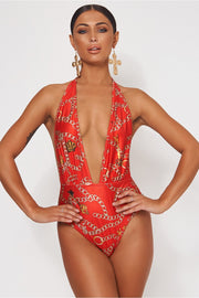 Limited Edition Red Chain Print Swimsuit