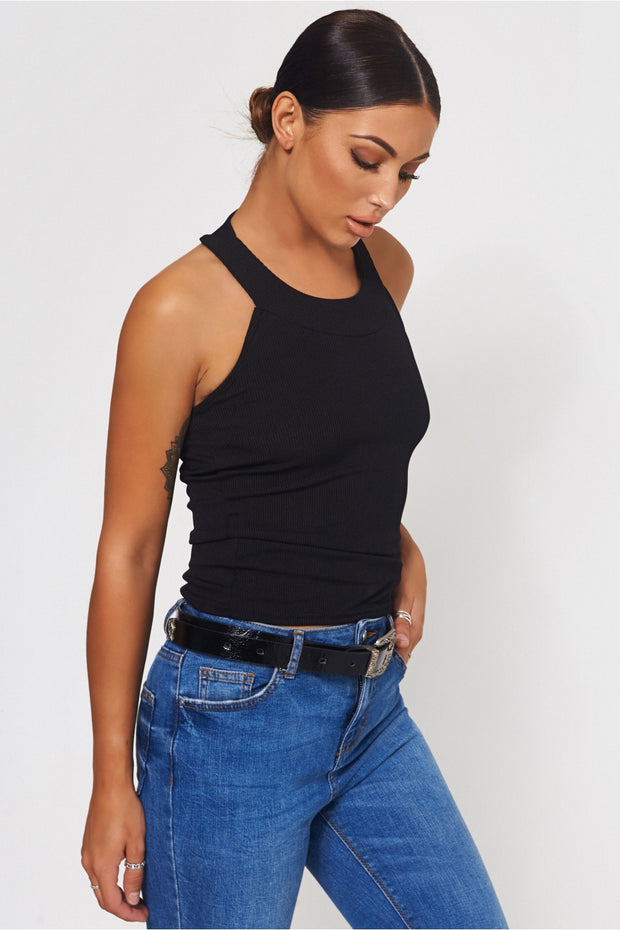 Black Round Neck Strap Back Vest Top