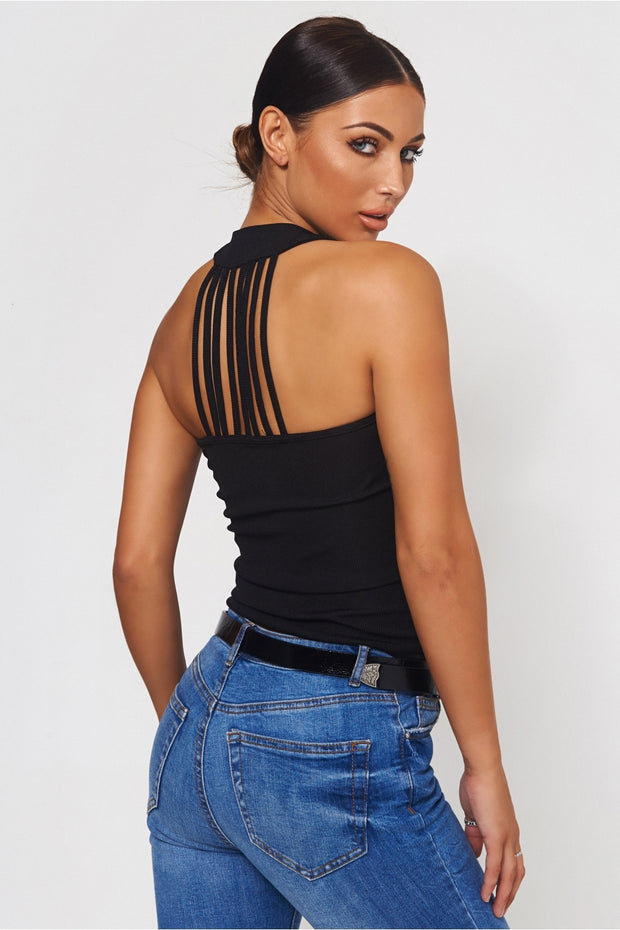 Black Round Neck Vest Top
